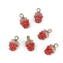 5Pcs/Lot 14mm Zinc Alloy Metal Enamel Third Dimension 3D Red Strawberry Charm Pendant For Earring Fashion Jewelry Creative DIY(China)