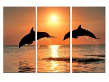 3 pieces / set New Canvas art Printings Animals Dolphins Painting Wall Art Home Decoration for home