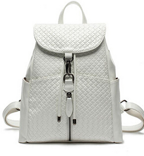 2017 Women s leather shoulder bag schoolbag College Wind knit white leather travel bag
