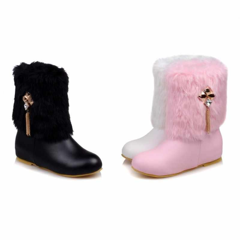 Женские ботинки, Осень-зима, теплые меховые, 2018, новые сексуальные модные мотоциклетные сапоги до середины икры, черные, розовые, белые, на высоком каблуке