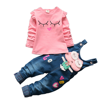Free shipping 2018 baby girls sweet 2pcs sets t-shirt+rompers suit children colthing baby girl clothes set kids