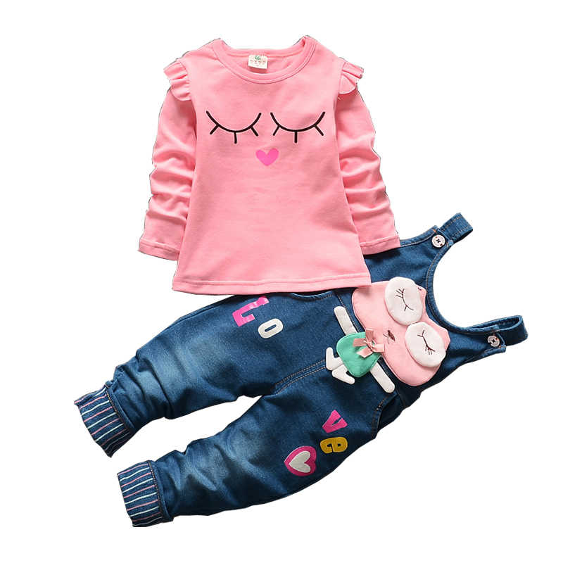 baby girls sweet 2pcs sets t-shirt+rompers cute cartoon suit children colthing baby girl clothes kid clothes overalls bodysuit