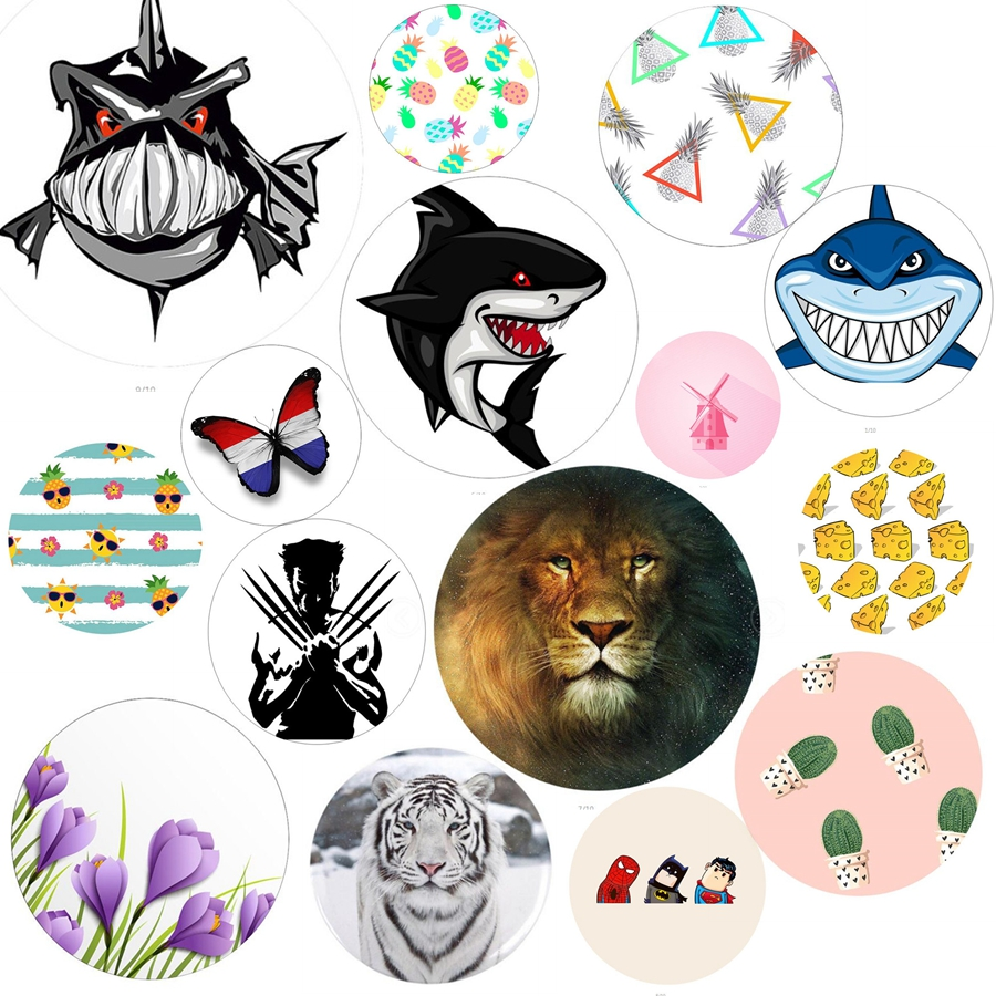 5pcs/lot Animal Auto Round Metal Plate sheet Paste On smartphone For Magnetic Car Phone holders Support Car mobile accessories Car phone