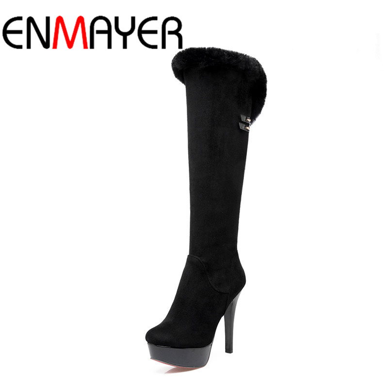 ENMAYER High Heels Charms Shoes Woman Classic Black Shoes Round Toe Platform Zippers Knee-high Boots for Women Motorcycle Boots enmayer woman high heel ankle boots round toe zippers shoes women large size platform boots warm shoes for ladies black white