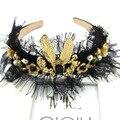 Rainha da moda Coroa de Ouro Barroco Palácio Pérola Hairbands Headband Da Flor Do Vintage de Renda Preta Por Atacado Tiara De Noiva Menina De 112