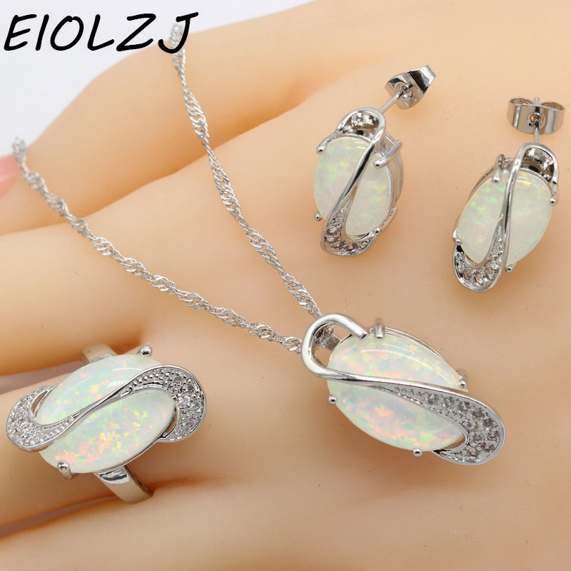 925 Silver Jewelry Sets For Women Long Oval Pink White Blue Opal Bridal Earring Sets Pendant Rings Stud Earrings Free Gift Box eiolzj white oval fire opal stone 925 sterling silver clip earrings for women bridal fashion jewelry free gift box three colors