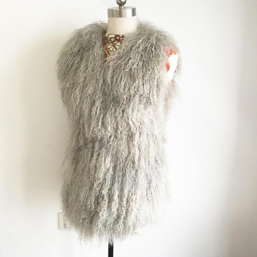 2019 Genuine Tan Sheep Fur Vest Women Customize Mongolia Sheep Fur Gilet Real Natural Fur Overcoat