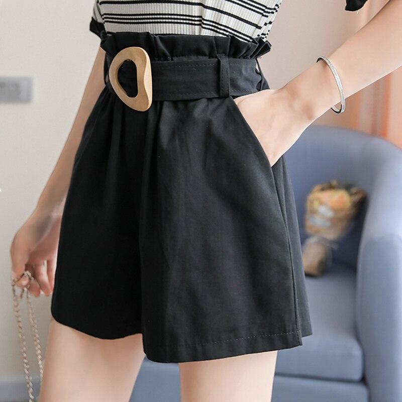 Qiukichonson High Waist Shorts Women Summer Short Pants Korean Fashion Casual Ruffle Pockets Design Black Shorts With Belt