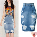 2017 Summer Fashion Distressed Ripped Denim Skirt High Waisted Short Sexy Skinny Pencil Jeans Skirts With Hole Plus Size 3XL