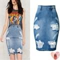 2017 Verão Moda Afligido Rasgado Denim Saia Curta de Cintura Alta Sexy Skinny Jeans Lápis Saias Com Buraco Plus Size 3XL