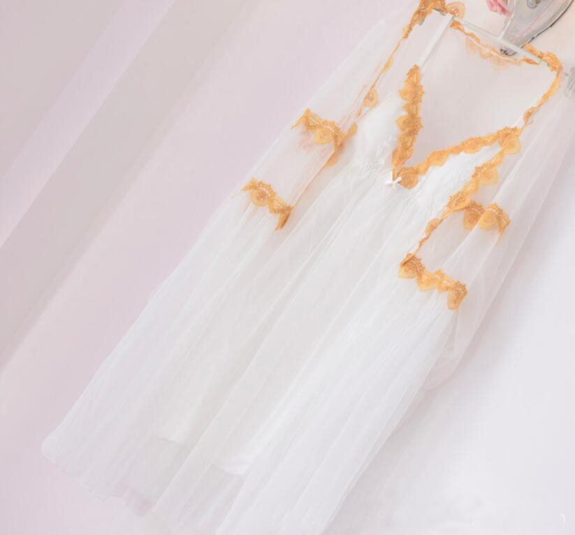 Stil Rb289 GläNzend Roben Lange Sexy Pyjamas 2 Sätze Lange Feste Weiß Langarm Tiefem V-ausschnitt Sexy Kleid Nachtwäsche Wäsche Kostüme