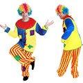 Хэллоуин Удивительные цирковом шут Клоун Костюм для Взрослых хэллоуин Унисекс Косплей одежда комбинезон Топ + Брюки + Нос