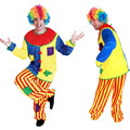 Halloween Amazing Circus performance Clown Costume Adult buffoon halloween Unisex Cosplay clothes jumpsuit Top + Pants + Nose