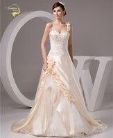 2018 Champagne Luxury Vestido De Noiva Robe De Mariage Bridal Dress A Line Embroidery Wedding Dresses YN 9514