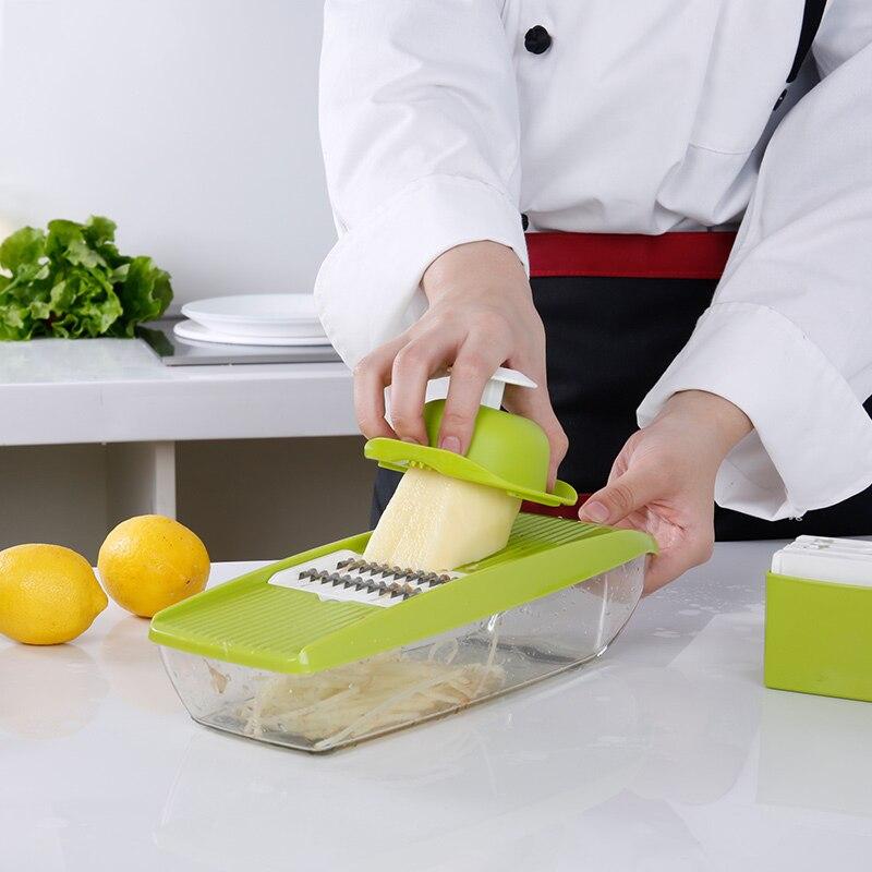 Mandoline Slicer Vegetable Cutter con 5 Lame Verdure Multifunzionale Taglierina Della Patata Manuale Cipolla Affettatrice Cucina Accessori