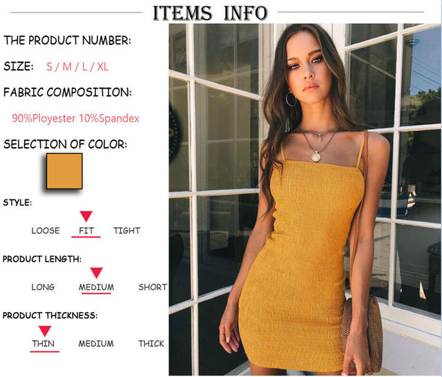 Women Sleeveless Sexy Summer Suspender Dresses Bodycon Party Casual Short Yellow Mini Dress 1