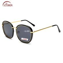 = SCOBER Personality trend ladies sun glasses Custom Made Nearsighted Minus Prescription polarized sunglasses -1 to -6