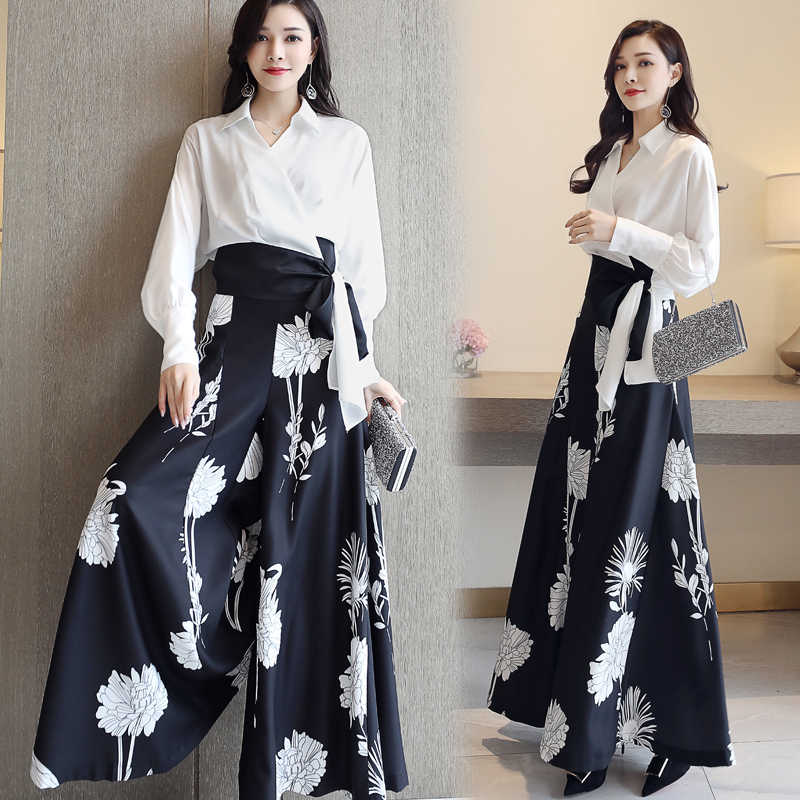 Two Piece Pant Suits 2019 Spring Women s floral Sets Long Sleeve Blouse Shirt Top and