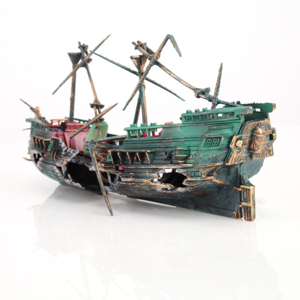 24*12cm Large Aquarium Decoration Boat Plactic Aquarium Ship Air Split Shipwreck Fish Tank Decor Wreck Sunk