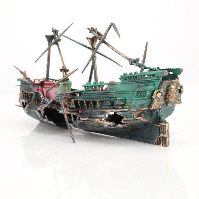 Large Aquarium Decoration Boat Plactic Aquarium Ship Air Split Shipwreck Fish Tank Decor Wreck Sunk