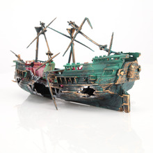 9.36'' * 4.68'' Large Aquarium Decorations Wreck Sunk Ship Aquarium Plactic Boat Air Split Shipwreck Fish Tank Decoration