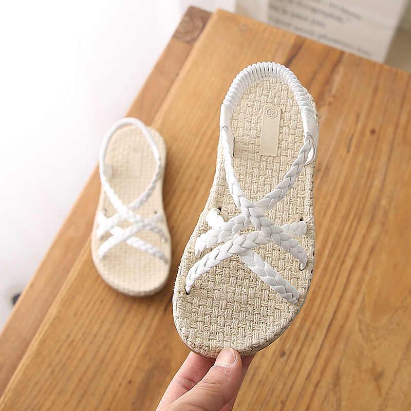 COZULMA 2019 sandalia romana de verano para niñas zapatos de tejido sandalias de playa para niñas 3-12 años negro tamaño blanco 26-36