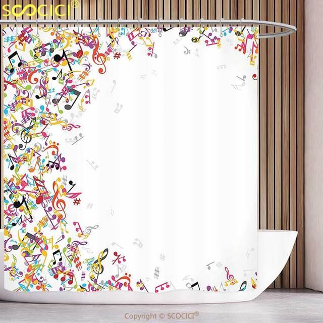 Waterproof Shower Curtain Music Decor Colorful Notes Frame Decorating Festival Singing Enjoyment Fashion Bathroom