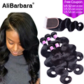 Unprocessed Human Hair Weave with closure 3PCS Peruvian Virgin Hair body wave with Closure  Peruvian Body wave with closure