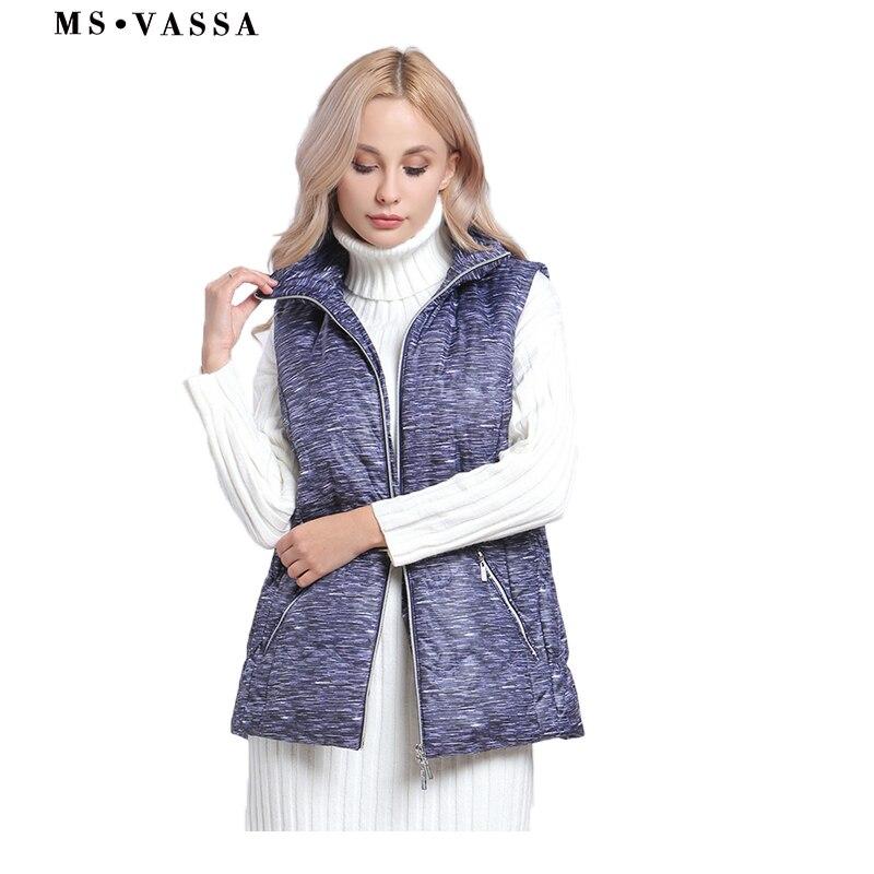 MS VASSA Women Plus size Vest fashion Female waist coat padded sleeveless jacket lady casual brand