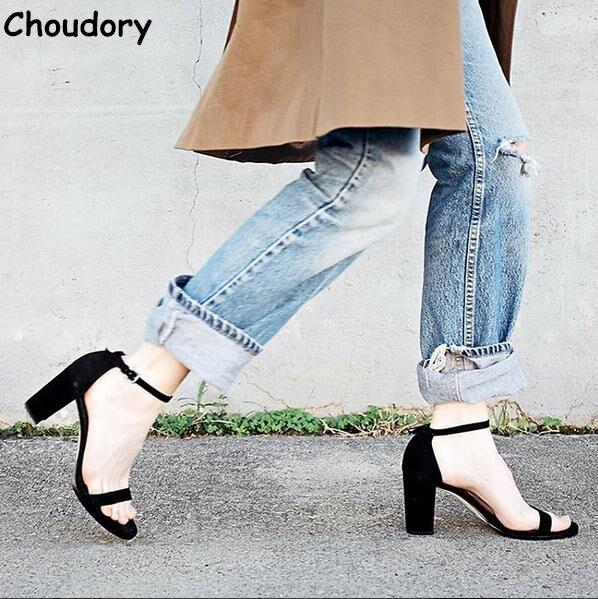 ФОТО High Quality 2017 Sheepskin Peep Toe Woman Gladiator Sandals Fashion Chunky Heels Buckle Strap Dress Shoes Party Shoes Woman