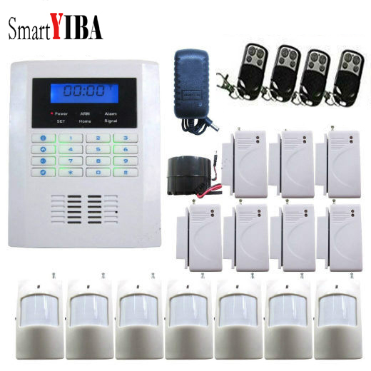 SmartYIBA Wireless Wired GSM SMS PSTN Home Burglar Security Alarm System LCD Keyboard Russian/French/Spanish/Italian Voice wireless gsm pstn auto dial sms phone burglar home security alarm system yh 2008a