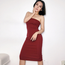 Euro-American Wind-sexy Chest-wrapped Tight Dress, Slim Body-wrapped Hip-bare Shoulder, Short Breast-wiping Bottom dress