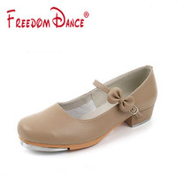 Tan Color Tap Dance Shoes For Girls Women Patent Leather With Bow Buckle Jazz Step Dance Shoes Clogging Shoes Size 26 42