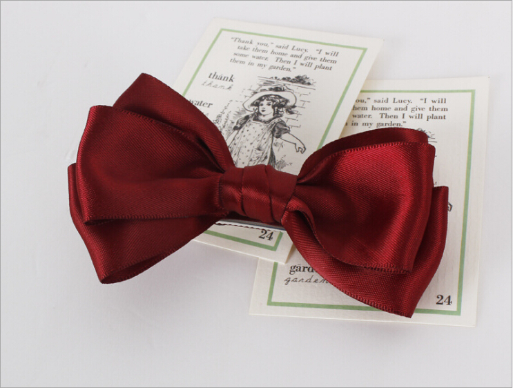 Accessories Wine Red Bowknot Bows Hairpin Boutique Girls Kids Hair Clips Bow Barrette Accessories For Children Headdress Hairclip Ornaments