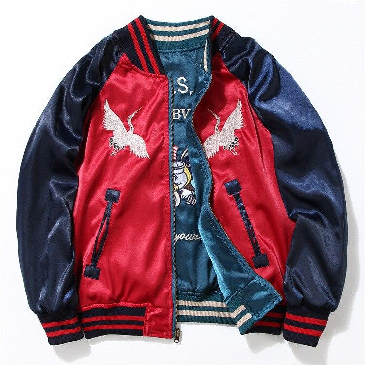 Япония Йокосука вышивка куртка для мужчин женщин Мода Винтаж Бейсбол Форма обе стороны носить Kanye West бомбер куртки