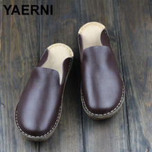 YAERNI Women's Shoes Summer Slip On Flat Shoes Yellow/Coffee/Brown Genuine Leather Footwear Fashion Round Toe slipper