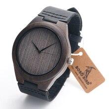 BOBO F07 de AVES De Bambú de Madera de Ébano Analógico Relojes antiguos Mens Diseño Buck de Primeras Marcas de Lujo Relojes de Cuarzo En Caja de Regalo