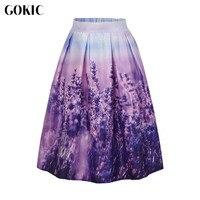 Owlprincess 2016 Women S High Waist Romantic Lavender Floral Pleated Skirts Knee Length Skirt Vintage Elegant