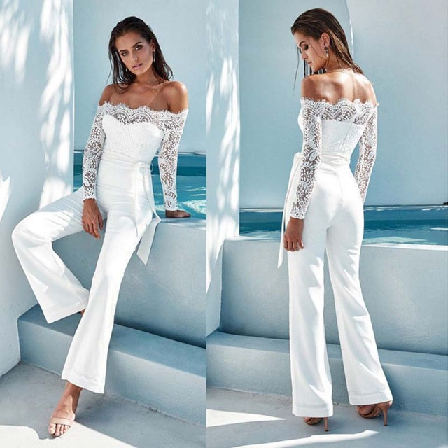 3a0438a29f66 2018 Sexy Lace Stitching Strapless Jumpsuit Tight Playsuit Women Clubwear  Beach Party Romper Suit mulberry silk Mesh Overalls