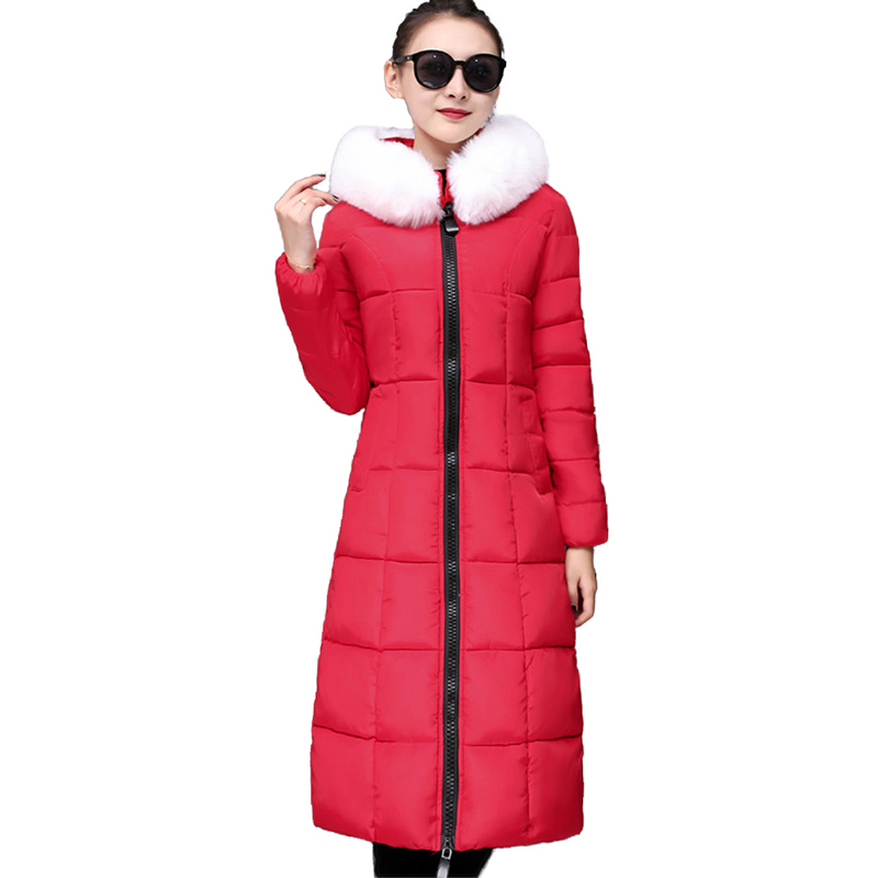 New Women winter down cotton jacket Thicken Long   parkas   Fur collar Hooded tops Plus size female Slim warm cotton jackets 2229