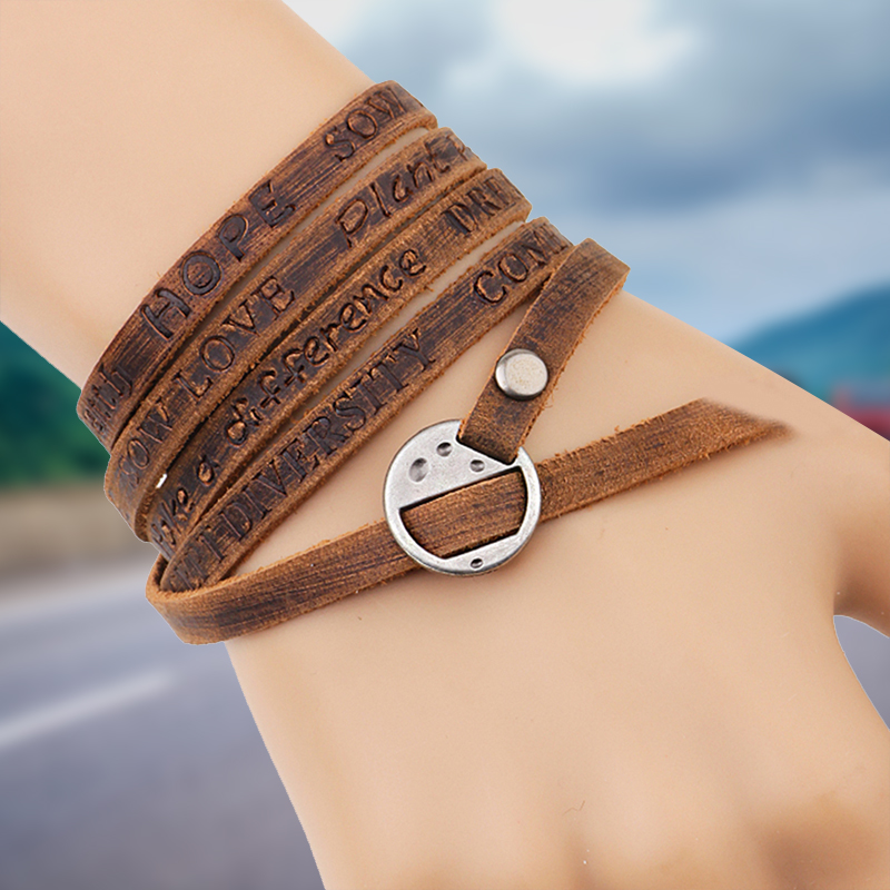 One Piece Wounded Men Leather Bracelet 2018 Ny Minimalistisk Style Multi-Layer Armband Ladies Men Charm Style Armband