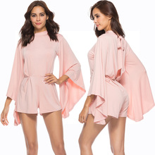 New hot summer fashion personality female jumpsuit bat sleeve high collar waist casual sexy loose womens