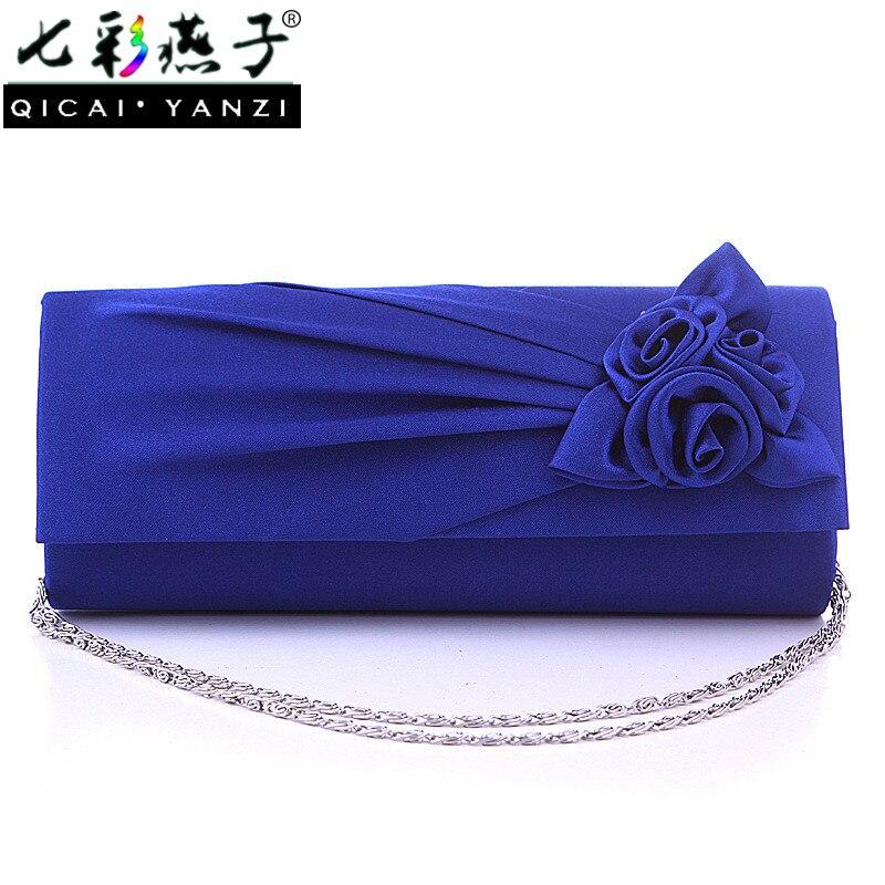 QICAI YANZI 2017 Satin Women s Chain Flower Evening Party Prom Wedding Bag Lady Coin Purse