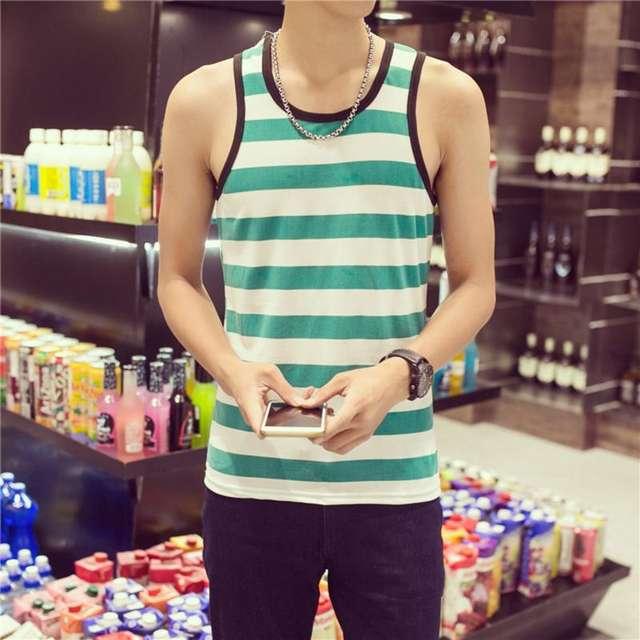 2018 Men gyms Summer TanBodybuilding Sleeveless Strip Tank Tops Men Vest Bodybuilding Clothing And Fitness Men Casual Sportswear