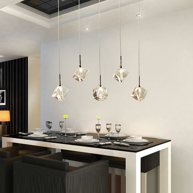 T Transparent Crystal Led Dining Room Bar Pendant Light