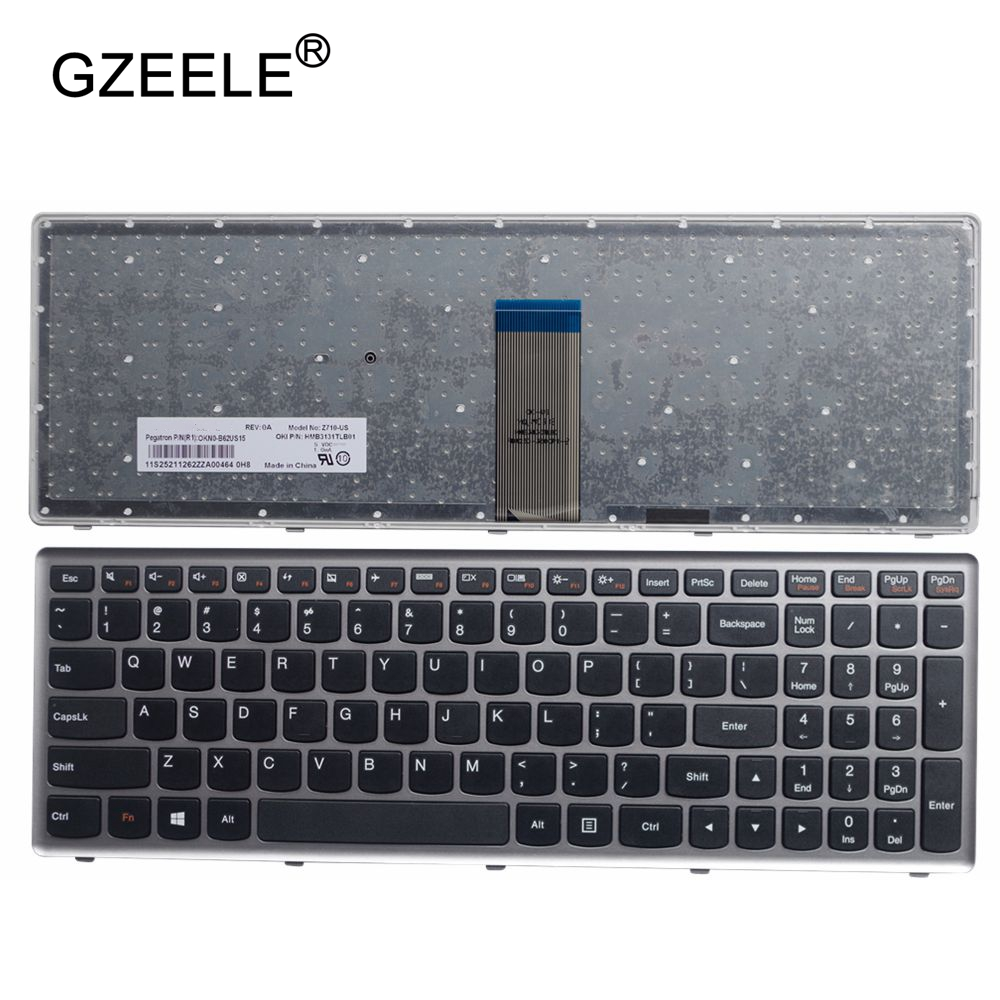 GZEELE Laptop Keyboard For Lenovo Z710 U510 US SILVER FRAME BLACK Laptop Keyboard English Layout