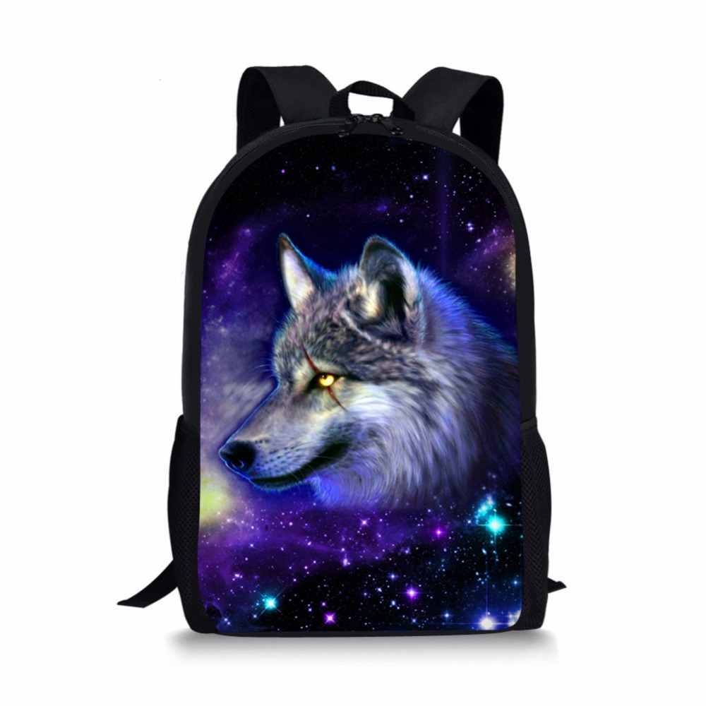 3D Cool Wolf Lion Bear Animals print Backpack school bag orthopedic schoolbag for girls boys kids Minimalist mochila escolar цена 2017