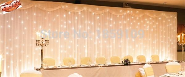 3x6m white silk wedding backdrop with led curtain light backdrop wedding drape with led light drape and led light for wedding