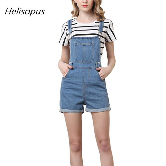 7c2f21df860 Helisopus Short Pants Denim Overalls Women Casual Jeans Romper Washed Blue  Dungarees 2018 Summer One Piece Clothing