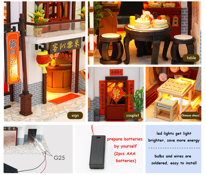 Doll House Chinese Style Hotel Miniature Dollhouse Assemble Kit Toys Wooden Retro Shop Furniture House Toys for Children New Year Christmas Gift (4)